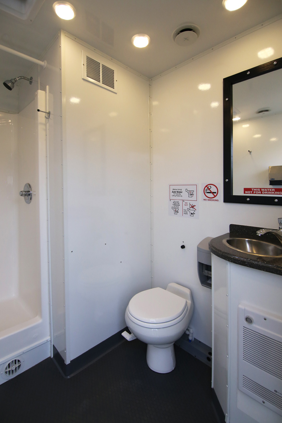 Double Shower Trailer Interior